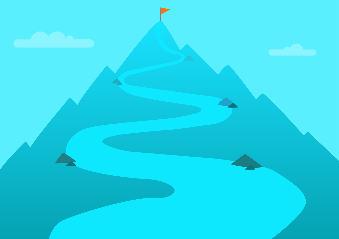 Graphic of a dark blue mountain with a winding path leading upward toward the top where there is a triangular orange flag to mark the summit.